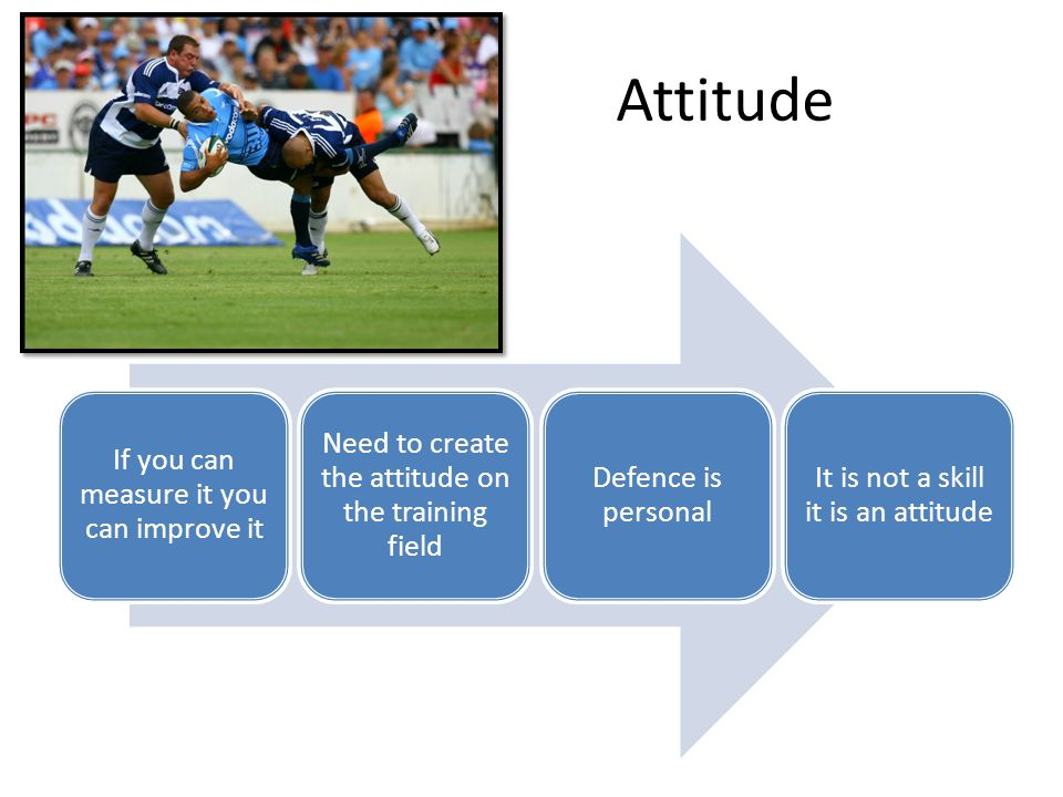 Attitude If you can measure it you can improve it Need to create the attitude on the training field Defence is personal It is not a skill it is an attitude