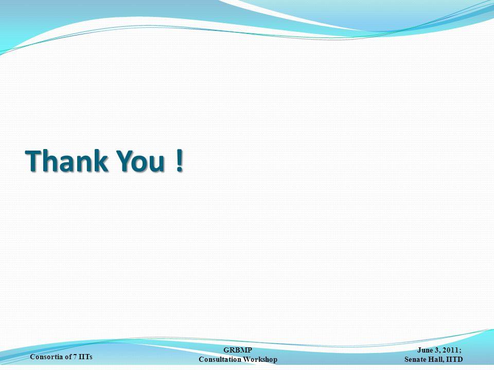 June 3, 2011; Senate Hall, IITD GRBMP Consultation Workshop Consortia of 7 IITs Thank You !