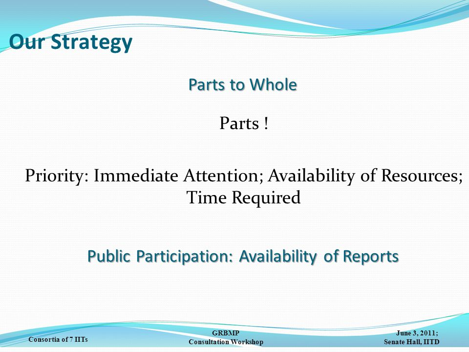 June 3, 2011; Senate Hall, IITD GRBMP Consultation Workshop Consortia of 7 IITs Parts to Whole Parts ! Priority: Immediate Attention; Availability of