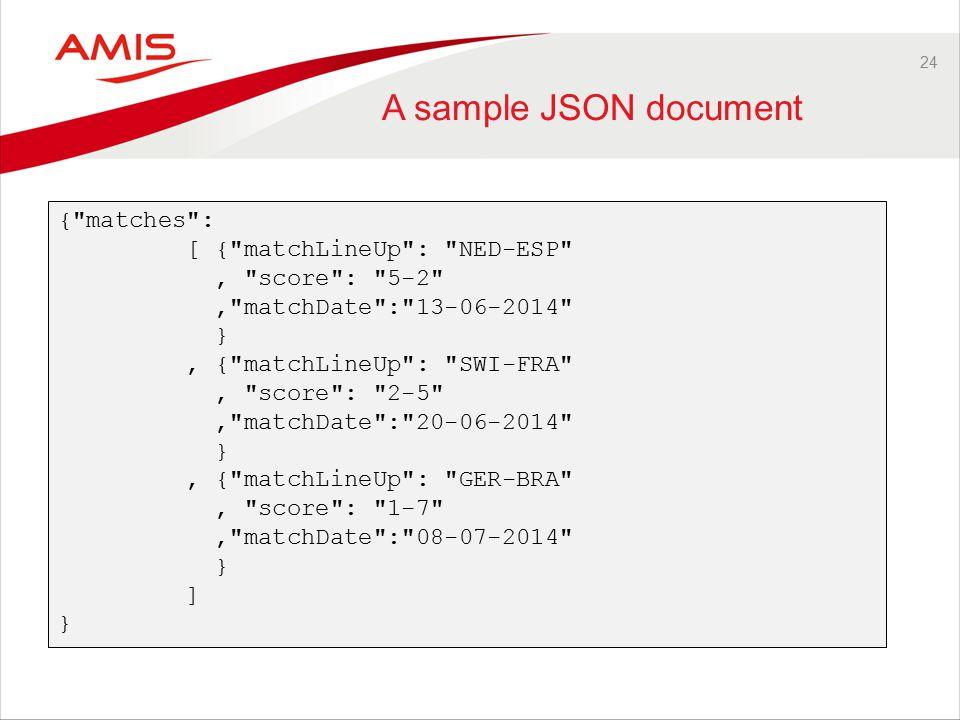24 A sample JSON document { matches : [ { matchLineUp : NED-ESP , score : 5-2 , matchDate : 13-06-2014 }, { matchLineUp : SWI-FRA , score : 2-5 , matchDate : 20-06-2014 }, { matchLineUp : GER-BRA , score : 1-7 , matchDate : 08-07-2014 } ] }