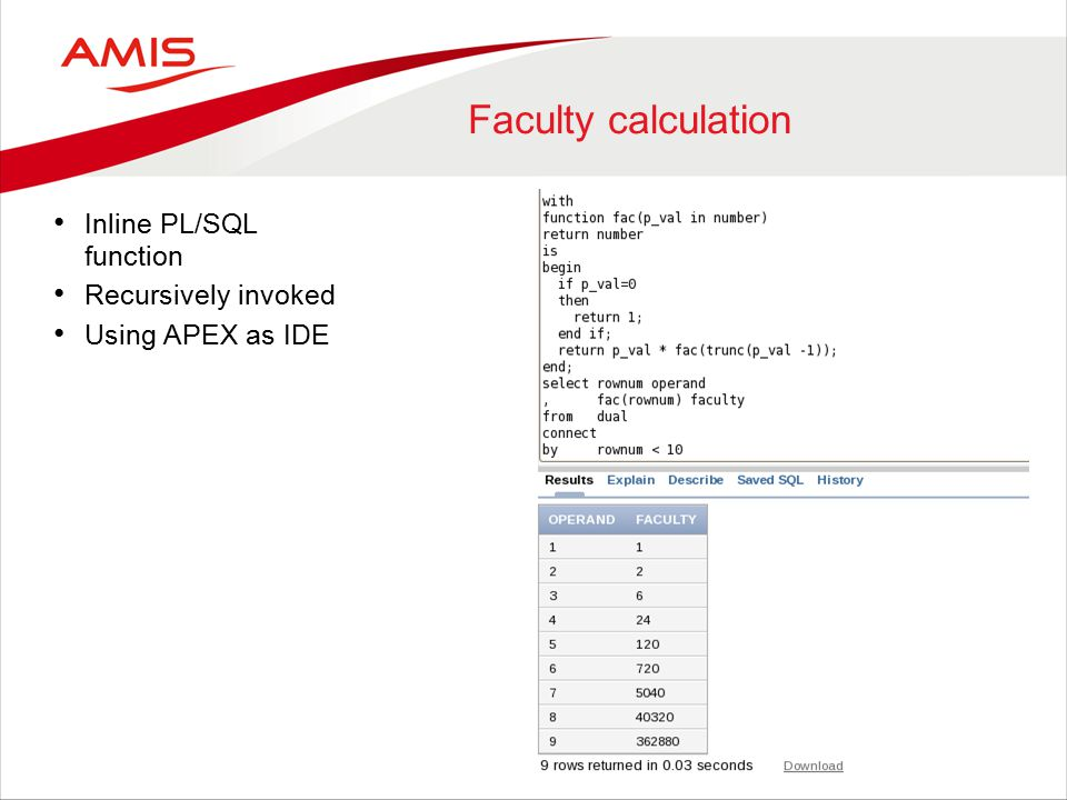 Faculty calculation Inline PL/SQL function Recursively invoked Using APEX as IDE