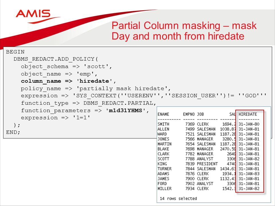 Partial Column masking – mask Day and month from hiredate BEGIN DBMS_REDACT.ADD_POLICY( object_schema => scott , object_name => emp , column_name => hiredate , policy_name => partially mask hiredate , expression => SYS_CONTEXT( USERENV , SESSION_USER )!= GOD function_type => DBMS_REDACT.PARTIAL, function_parameters => m1d31YHMS , expression => 1=1 ); END;