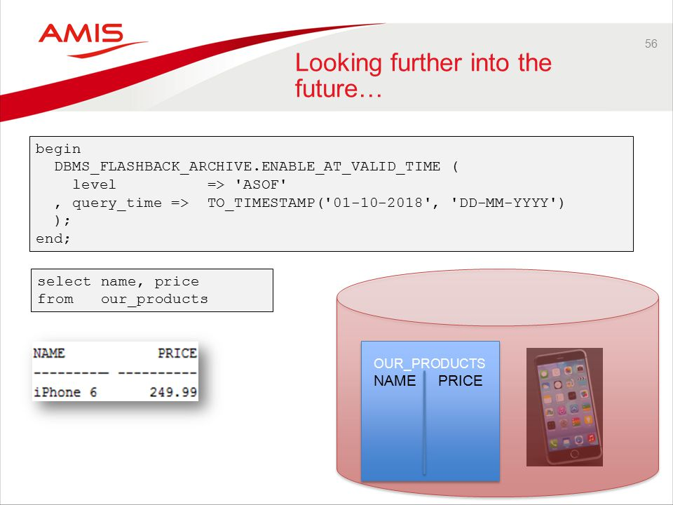 56 Looking further into the future… OUR_PRODUCTS NAME PRICE select name, price from our_products begin DBMS_FLASHBACK_ARCHIVE.ENABLE_AT_VALID_TIME ( level => ASOF , query_time => TO_TIMESTAMP( 01-10-2018 , DD-MM-YYYY ) ); end;