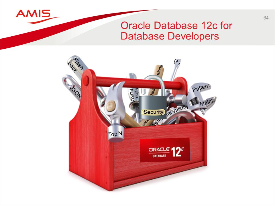 64 Oracle Database 12c for Database Developers Flash back JSON Top N Pattern Match Inline PL/SQL SQL Translation Data Masking (+) Security