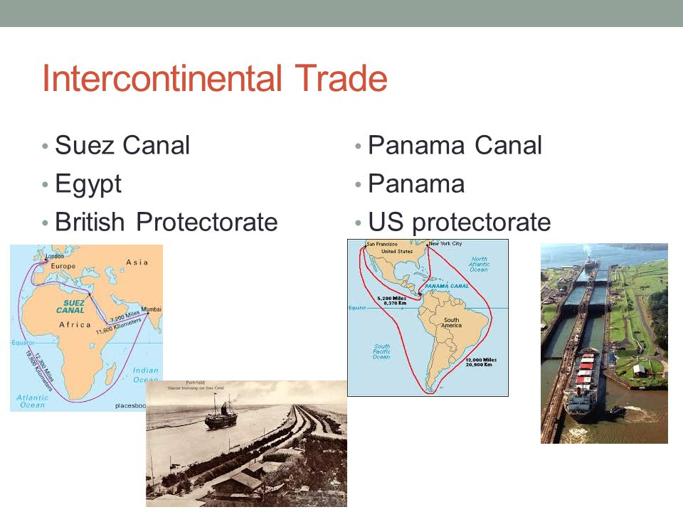Intercontinental Trade Suez Canal Egypt British Protectorate Panama Canal Panama US protectorate