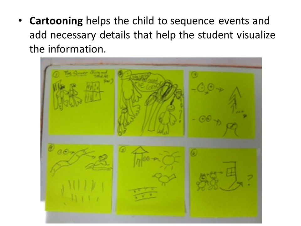 Cartooning helps the child to sequence events and add necessary details that help the student visualize the information.