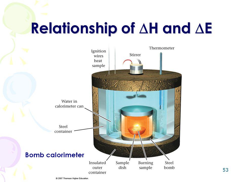 53 Relationship of  H and  E Bomb calorimeter