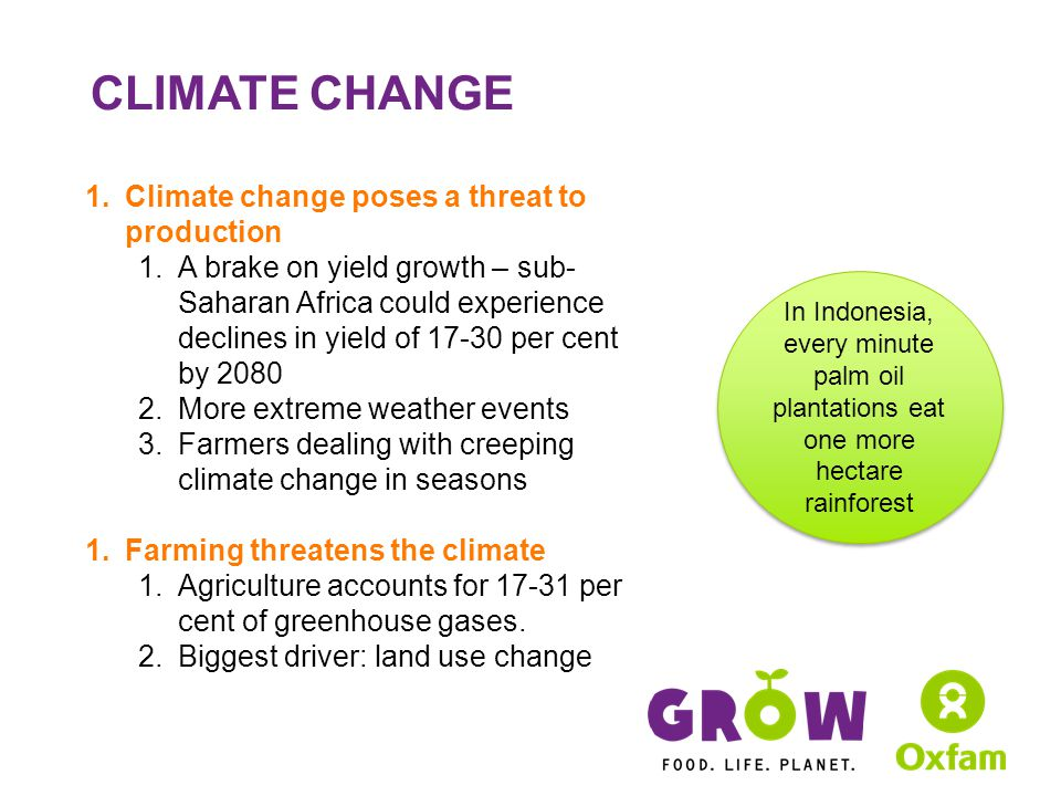 CLIMATE CHANGE 1.Climate change poses a threat to production 1.A brake on yield growth – sub- Saharan Africa could experience declines in yield of 17-30 per cent by 2080 2.More extreme weather events 3.Farmers dealing with creeping climate change in seasons 1.Farming threatens the climate 1.Agriculture accounts for 17-31 per cent of greenhouse gases.
