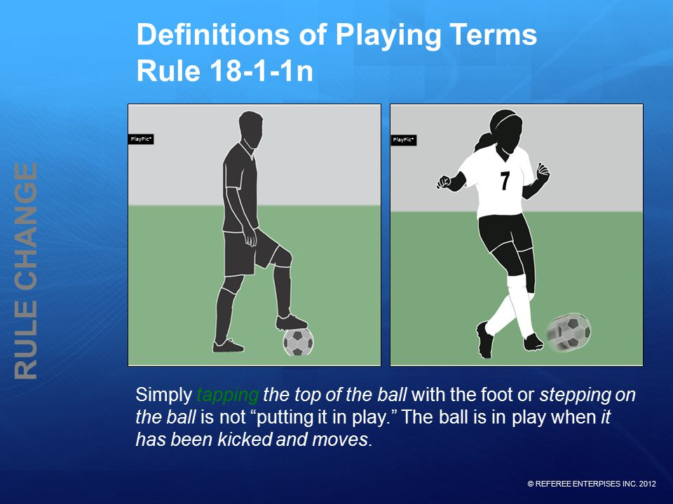 © REFEREE ENTERPISES INC. 2012 RULE CHANGE Definitions of Playing Terms Rule 18-1-1n Simply tapping the top of the ball with the foot or stepping on t