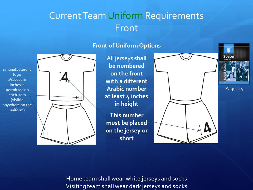 Current Team Uniform Requirements Front Front of Uniform Options 1 manufacturer's logo 2¼ square inches is permitted on each item (visible anywhere on the uniform) Home team shall wear white jerseys and socks Visiting team shall wear dark jerseys and socks All jerseys shall be numbered on the front with a different Arabic number at least 4 inches in height This number must be placed on the jersey or short Page: 24