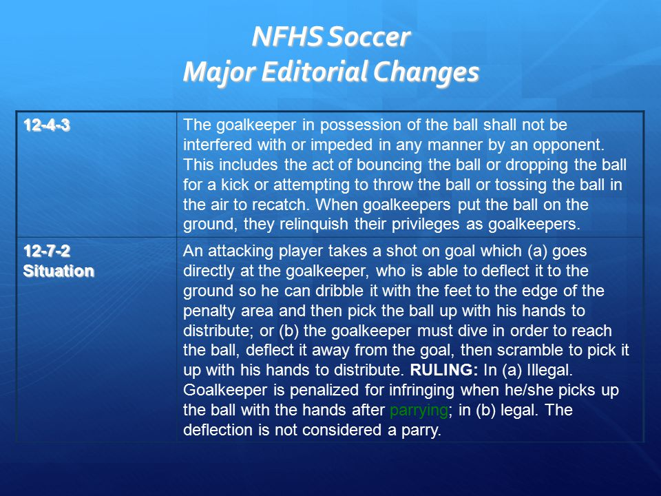 NFHS Soccer Major Editorial Changes 12-4-3The goalkeeper in possession of the ball shall not be interfered with or impeded in any manner by an opponent.