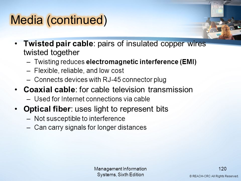 © REACH-CRC All Rights Reserved. Management Information Systems, Sixth Edition 120 Twisted pair cable: pairs of insulated copper wires twisted togethe