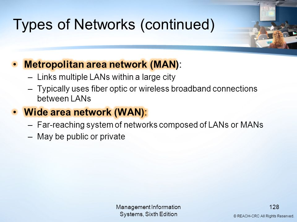 © REACH-CRC All Rights Reserved. Types of Networks (continued) Management Information Systems, Sixth Edition 128