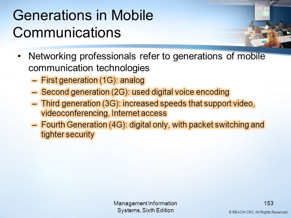 © REACH-CRC All Rights Reserved. Management Information Systems, Sixth Edition 153 Generations in Mobile Communications