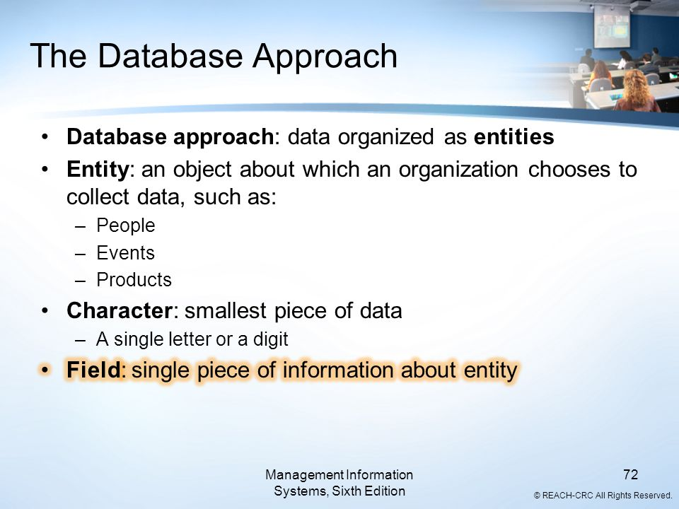 © REACH-CRC All Rights Reserved. Management Information Systems, Sixth Edition 72 The Database Approach