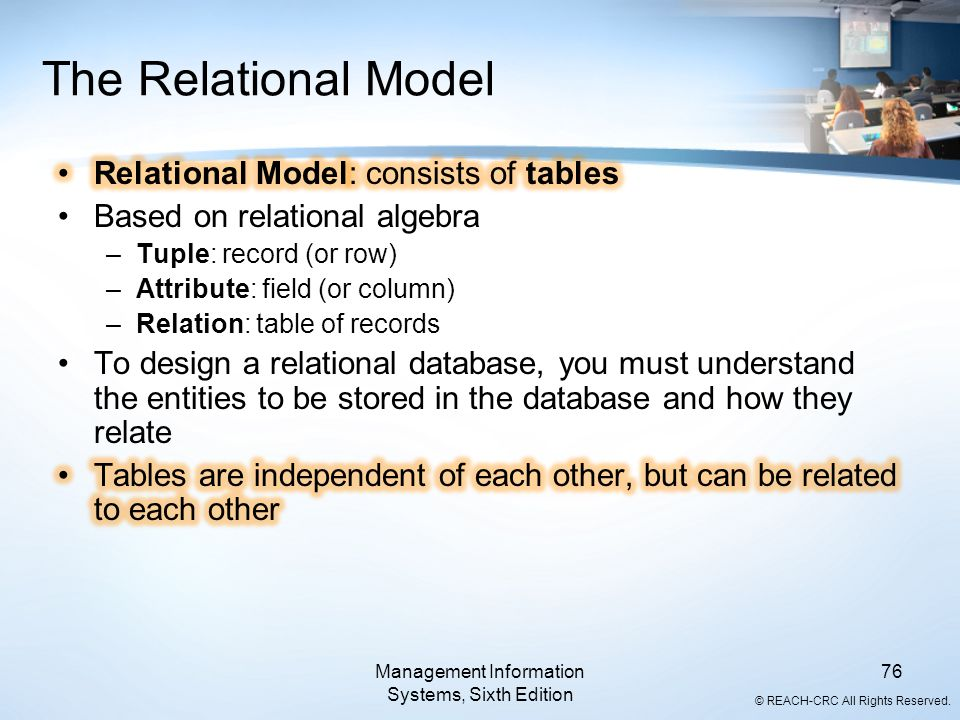 © REACH-CRC All Rights Reserved. Management Information Systems, Sixth Edition 76 The Relational Model