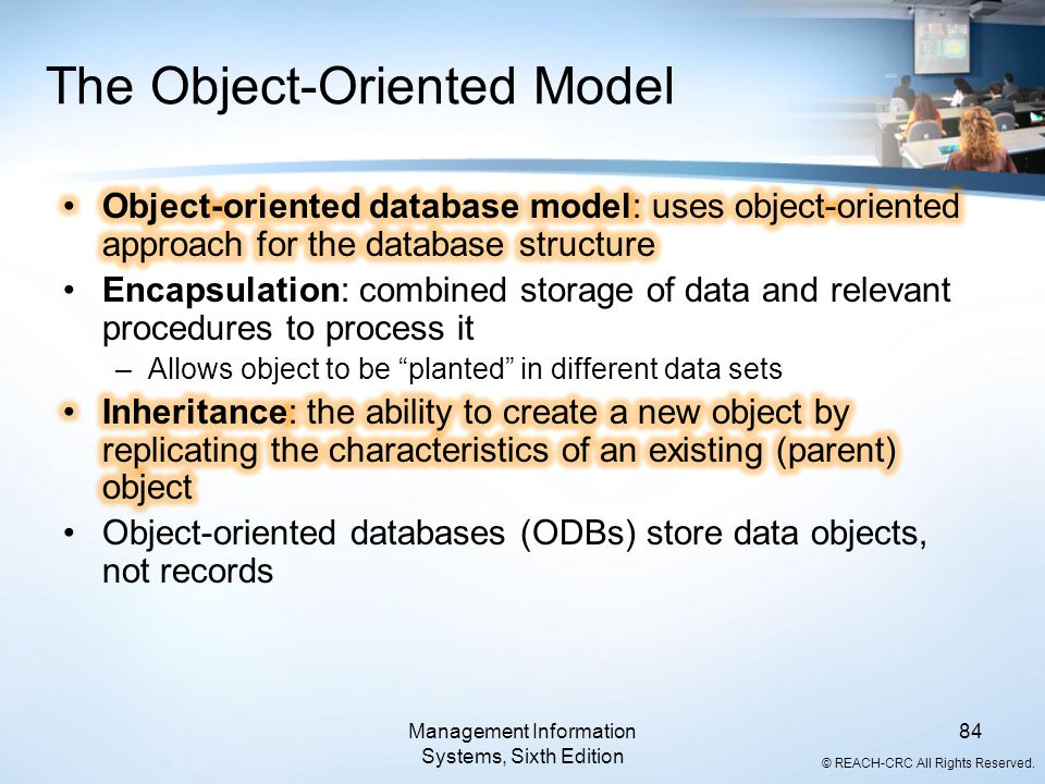 © REACH-CRC All Rights Reserved. Management Information Systems, Sixth Edition 84 The Object-Oriented Model