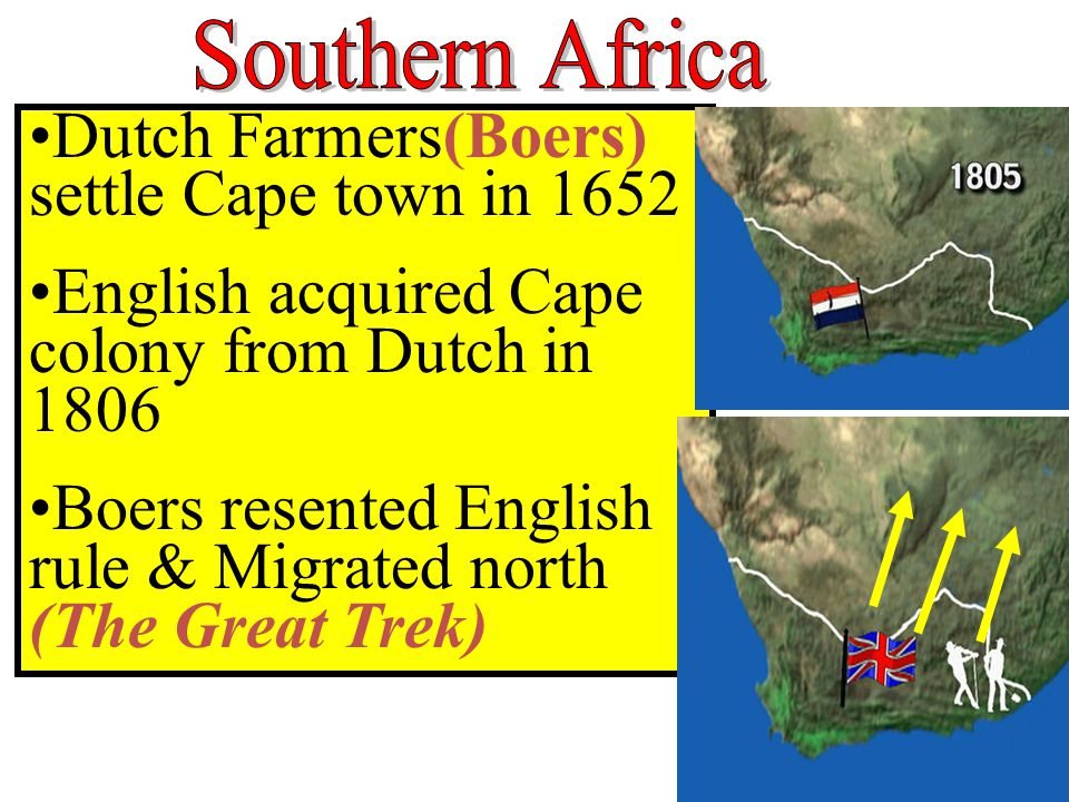 Dutch Farmers(Boers) settle Cape town in 1652 English acquired Cape colony from Dutch in 1806 Boers resented English rule & Migrated north (The Great Trek)