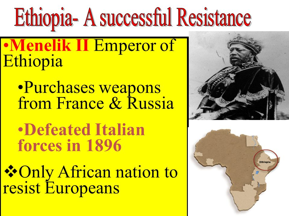 Menelik II Emperor of Ethiopia Purchases weapons from France & Russia Defeated Italian forces in 1896  Only African nation to resist Europeans