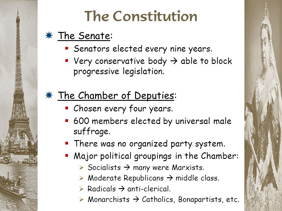 The Constitution *The Senate:  Senators elected every nine years.  Very conservative body  able to block progressive legislation. *The Chamber of D