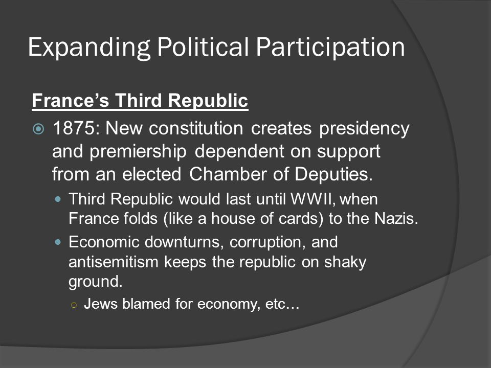 Expanding Political Participation France's Third Republic  1875: New constitution creates presidency and premiership dependent on support from an elected Chamber of Deputies.