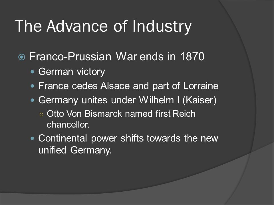 The Advance of Industry  1870s-1890s Karl Benz invents a workable gas engine Armand Peugeot constructs working car – beings working with Daimler.