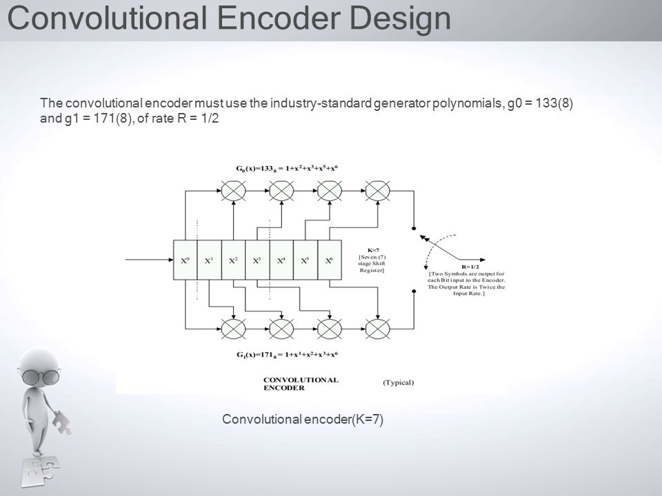 Convolutional Encoder Design Convolutional encoder(K=7) The convolutional encoder must use the industry-standard generator polynomials, g0 = 133(8) and g1 = 171(8), of rate R = 1/2