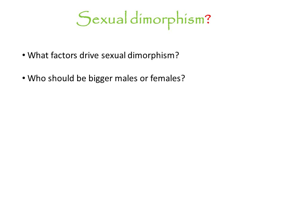 Sexual dimorphism What factors drive sexual dimorphism Who should be bigger males or females