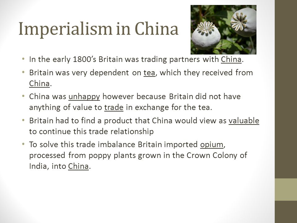 Imperialism in China In the early 1800's Britain was trading partners with China. Britain was very dependent on tea, which they received from China. C