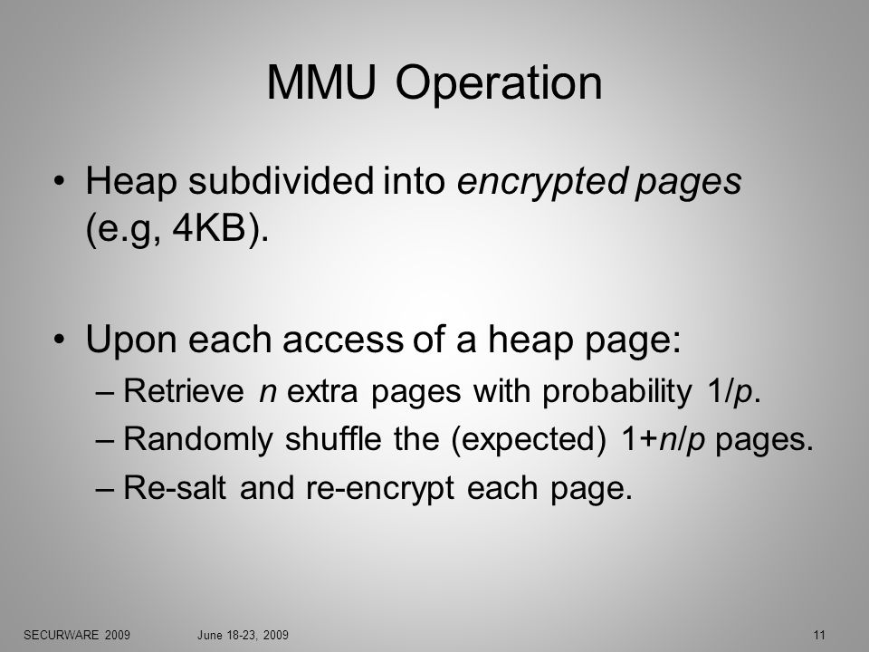 SECURWARE 2009June 18-23, 200911 MMU Operation Heap subdivided into encrypted pages (e.g, 4KB).
