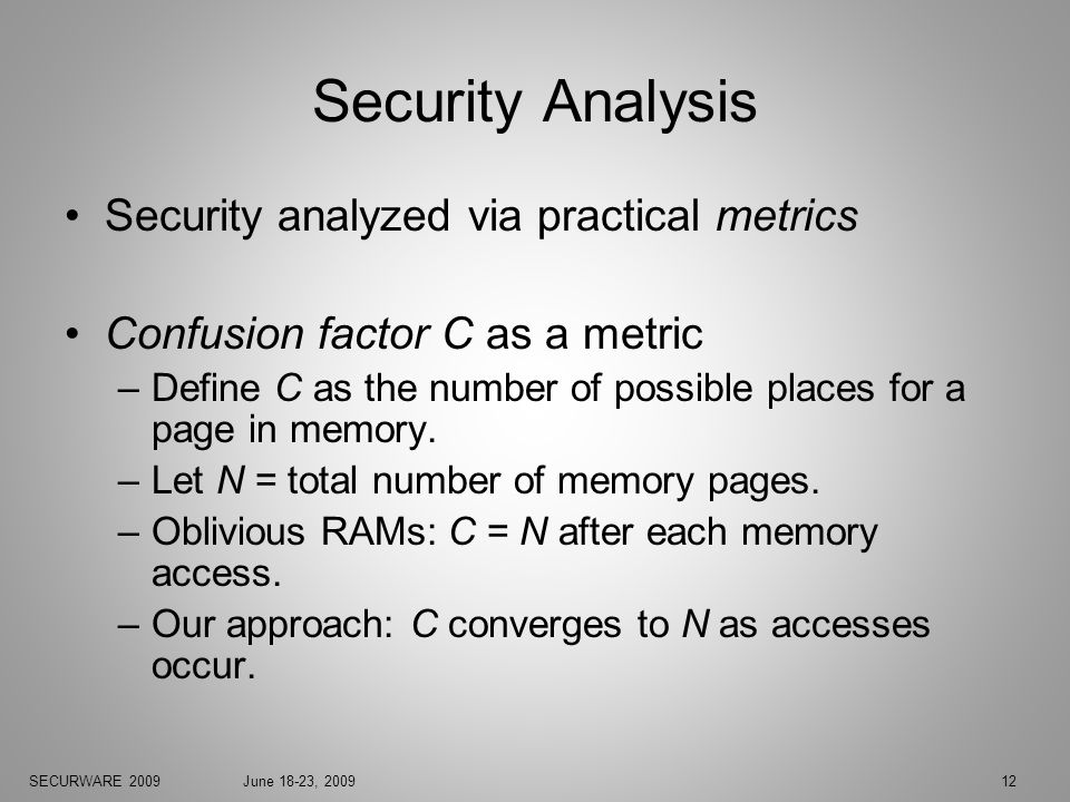 SECURWARE 2009June 18-23, 200912 Security Analysis Security analyzed via practical metrics Confusion factor C as a metric –Define C as the number of possible places for a page in memory.