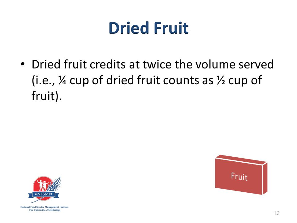 Dried fruit credits at twice the volume served (i.e., ¼ cup of dried fruit counts as ½ cup of fruit).