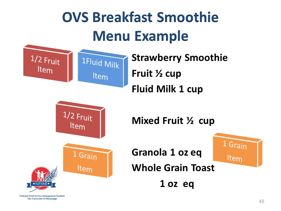 Strawberry Smoothie Fruit ½ cup Fluid Milk 1 cup Mixed Fruit ½ cup Granola 1 oz eq Whole Grain Toast Toast 1 oz1 oz eq 48