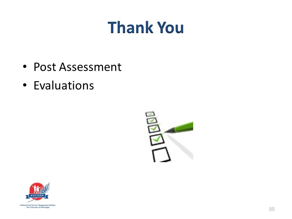 Post Assessment Evaluations 55