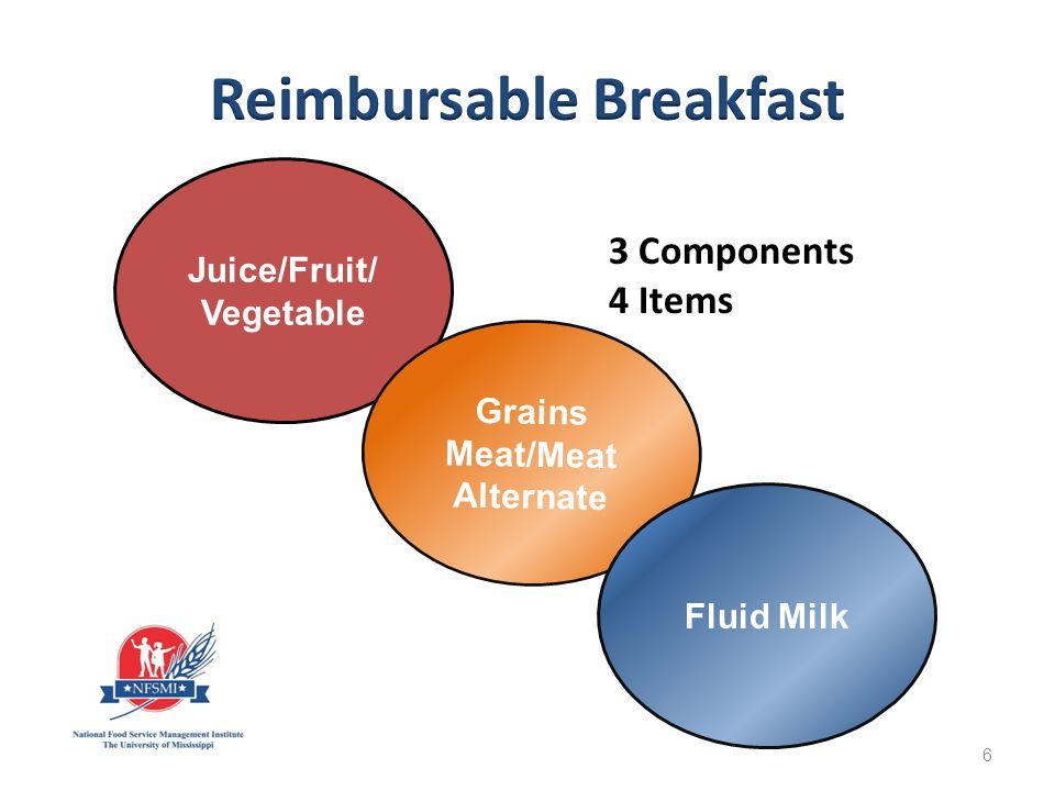 Breakfast Burrito 1 oz eq Grain and 1 oz eq M/MA Banana 1 cup Fluid Milk 1 cup 47