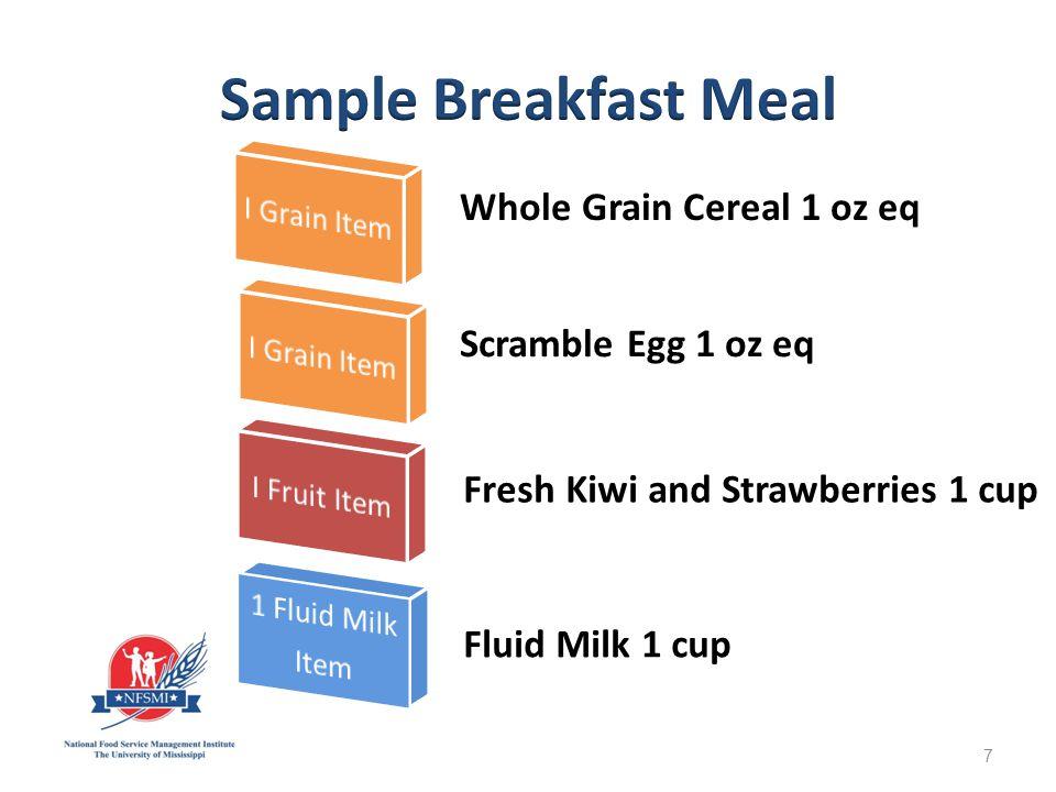 Strawberry Smoothie Fruit ½ cup Fluid Milk 1 cup Mixed Fruit ½ cup Granola 1 oz eq Whole Grain Toast Toast 1 oz1 oz eq 48
