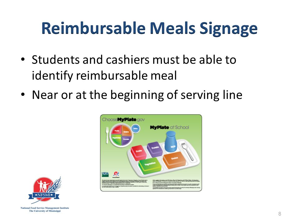 Not required: field trips, breakfast in the classroom, or other venues where signage may be problematic If choices are offered, other methods should be used to inform students what to select 9