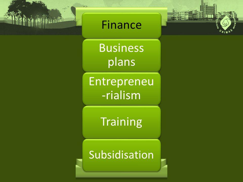 Finance Business plans Entrepreneu -rialism Training Subsidisation