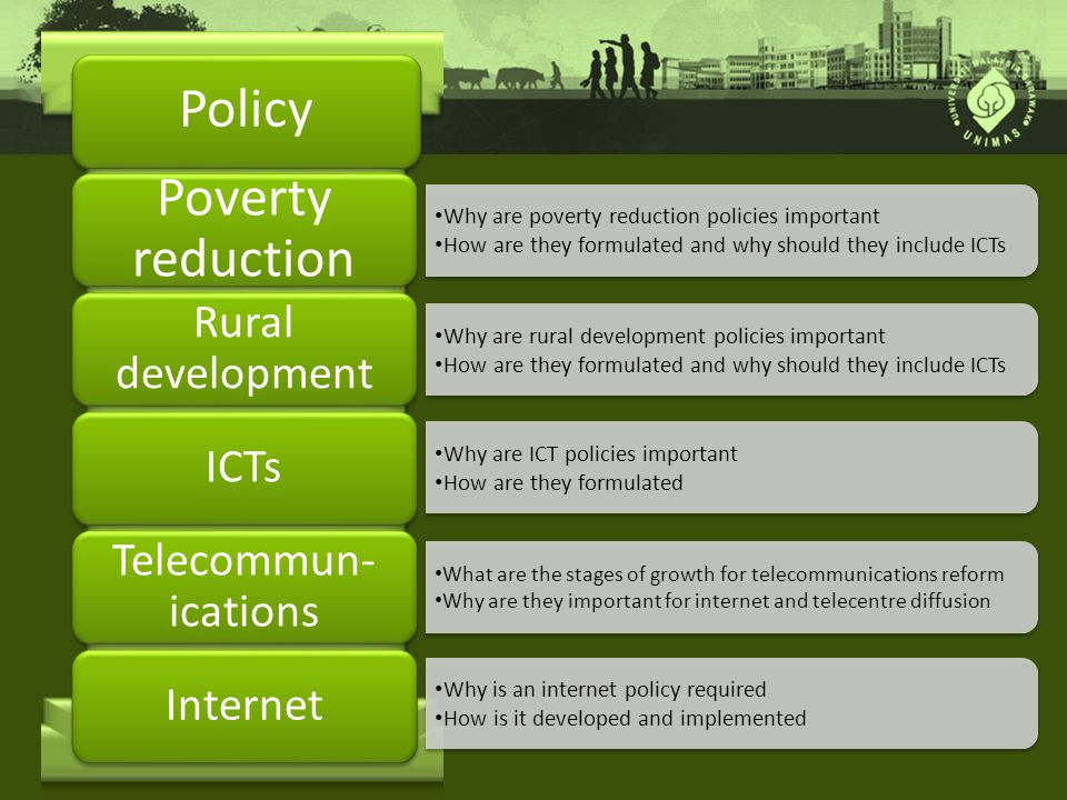 Policy Why are poverty reduction policies important How are they formulated and why should they include ICTs Why are poverty reduction policies important How are they formulated and why should they include ICTs Poverty reduction Why are rural development policies important How are they formulated and why should they include ICTs Why are rural development policies important How are they formulated and why should they include ICTs Rural development ICTs Telecommun- ications Internet Why are ICT policies important How are they formulated Why are ICT policies important How are they formulated What are the stages of growth for telecommunications reform Why are they important for internet and telecentre diffusion What are the stages of growth for telecommunications reform Why are they important for internet and telecentre diffusion Why is an internet policy required How is it developed and implemented Why is an internet policy required How is it developed and implemented