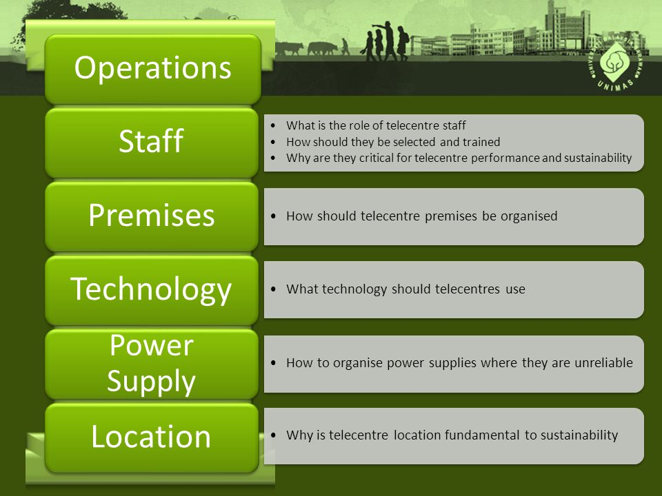 Operations What is the role of telecentre staff How should they be selected and trained Why are they critical for telecentre performance and sustainability What is the role of telecentre staff How should they be selected and trained Why are they critical for telecentre performance and sustainability Staff How should telecentre premises be organised Premises Technology Power Supply Location What technology should telecentres use How to organise power supplies where they are unreliable Why is telecentre location fundamental to sustainability