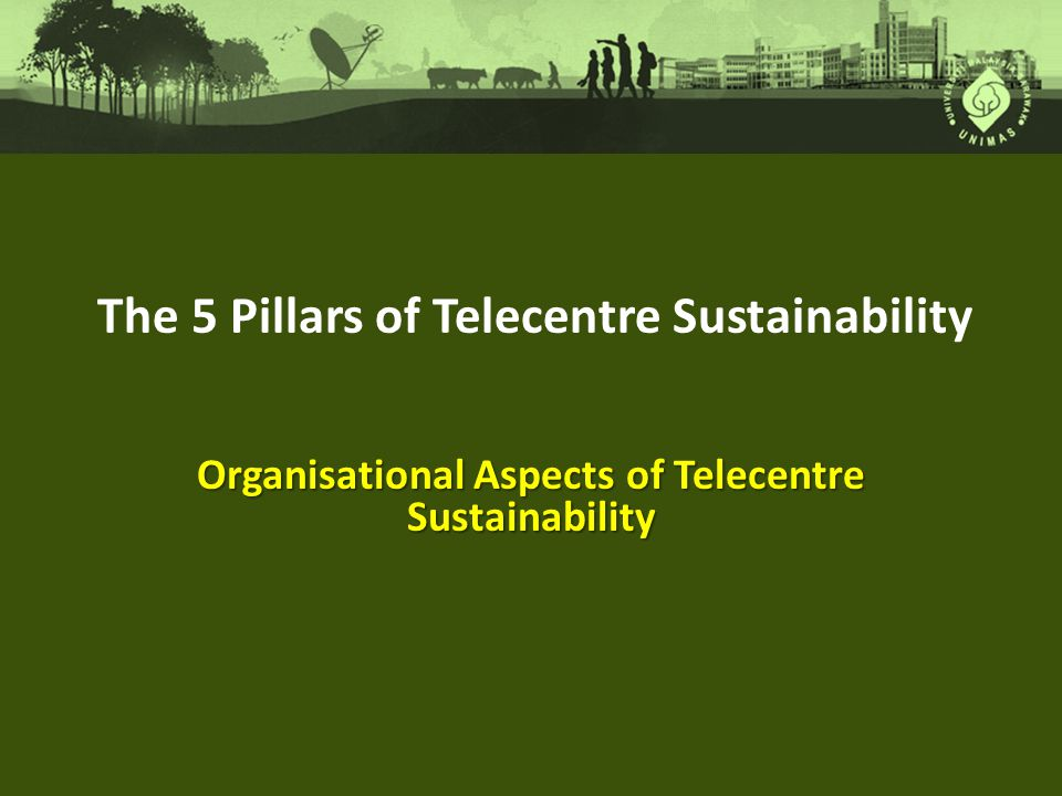 The 5 Pillars of Telecentre Sustainability Organisational Aspects of Telecentre Sustainability
