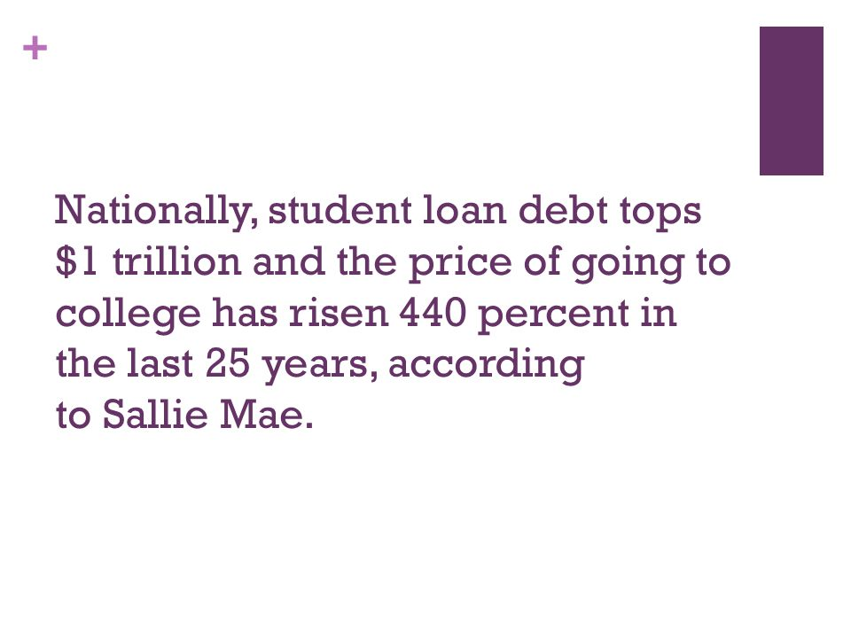 + Nationally, student loan debt tops $1 trillion and the price of going to college has risen 440 percent in the last 25 years, according to Sallie Mae.