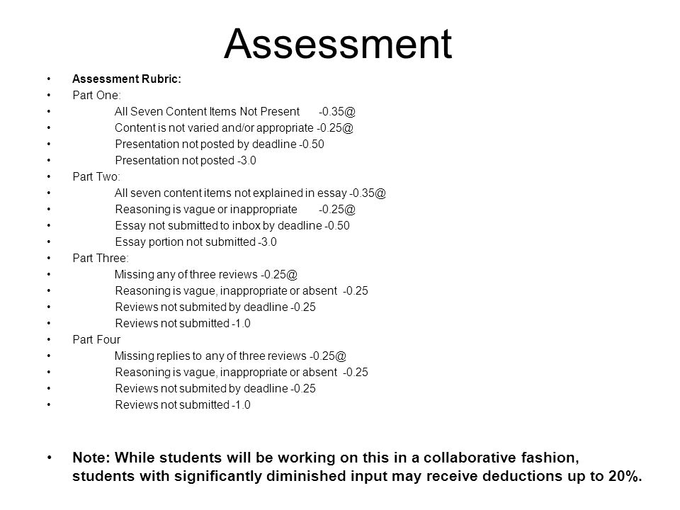 Assessment Assessment Rubric: Part One: All Seven Content Items Not Present-0.35@ Content is not varied and/or appropriate -0.25@ Presentation not pos