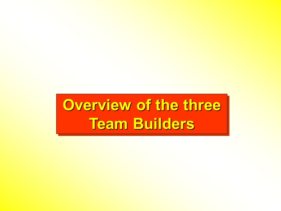 Overview Team Builder Pak 1 contains 3 different PowerPoint files and 7 total games. Team Builders to improve communications and team work. Ready to u