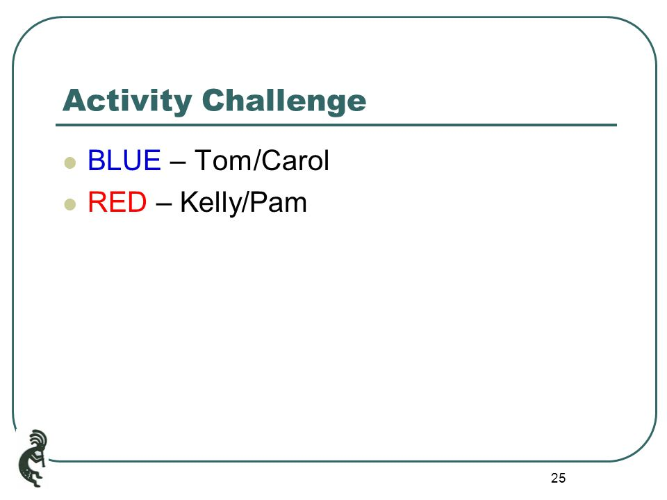 25 Activity Challenge BLUE – Tom/Carol RED – Kelly/Pam