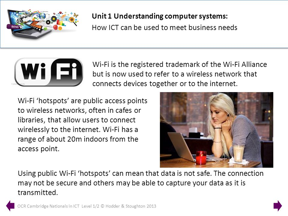 Unit 1 Understanding computer systems: How ICT can be used to meet business needs OCR Cambridge Nationals in ICT Level 1/2 © Hodder & Stoughton 2013 Wi-Fi is the registered trademark of the Wi-Fi Alliance but is now used to refer to a wireless network that connects devices together or to the internet.
