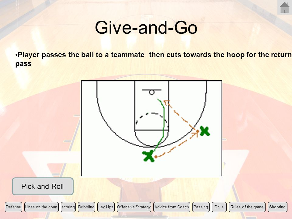 Give-and-Go Player passes the ball to a teammate then cuts towards the hoop for the return pass Rules of the gameLines on the courtscoringLay UpsShoot