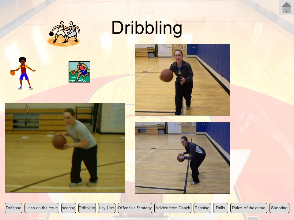 Dribbling Rules of the gameLines on the courtscoringLay UpsShootingDefenseOffensive StrategyDribblingPassingDrillsAdvice from Coach