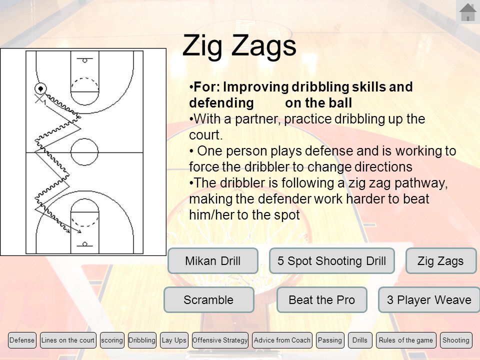 Zig Zags For: Improving dribbling skills and defending on the ball With a partner, practice dribbling up the court. One person plays defense and is wo