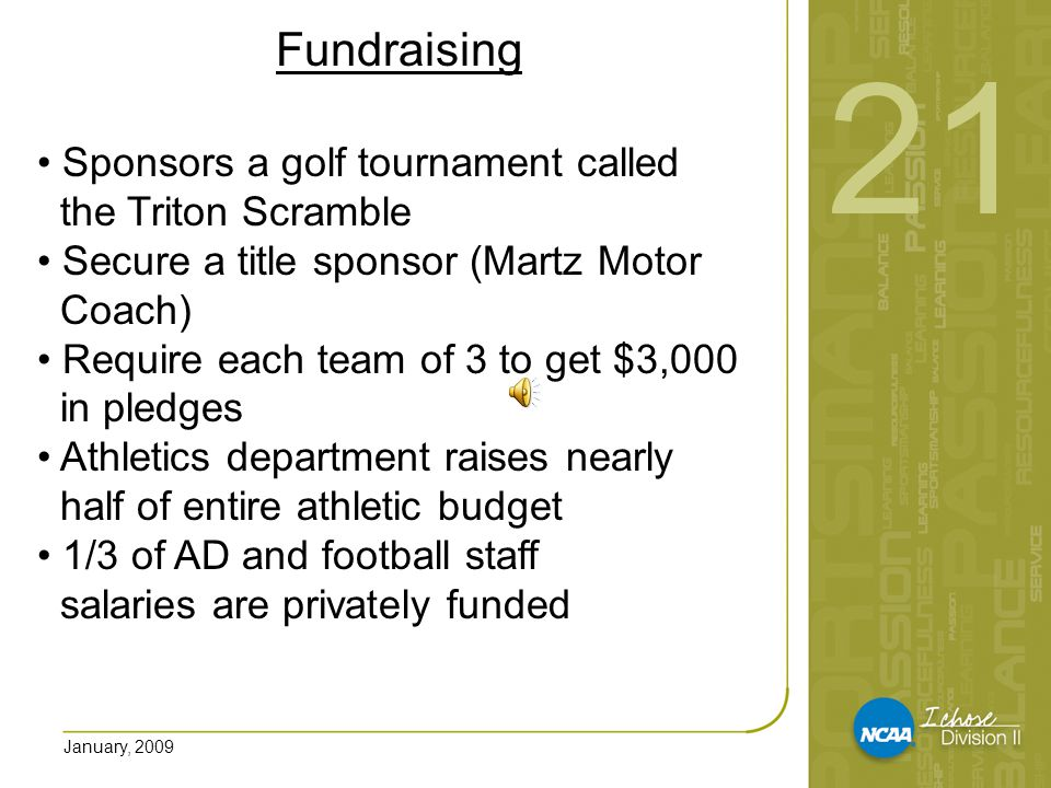 January, 2009 Fundraising Eliminated institutional funding for some sports and now are privately funded Pursuing endowments for each sport program Fundraising must reflect gender equity Fundraising must be FUN.